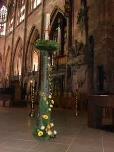 Christ Candle decorated for wedding at the Cathedral in Frieburg, Germany