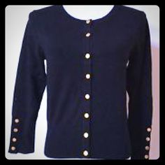 Black 3/4 sleeve cardigan with gold buttons Gorgeous! Timeless with a nice twist, this high-quality cardigan has 3/4 sleeves and gold buttons detailing. Like new- great condition! ☮ happy to bundle, to look at offers and to selectively trade. Premier Studio Sweaters Cardigans