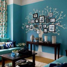 Beautiful idea for a tree wall in a living room. Love the colors!