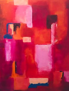 Generating curiosity with pinks, oranges and red abstract shapes make this painting by artist Kathleen LeRoy in Boulder, Colorado Abstract Shapes, Artist Painting, Artwork, Pink, Work Of Art, Auguste Rodin Artwork, Artworks, Pink Hair, Roses