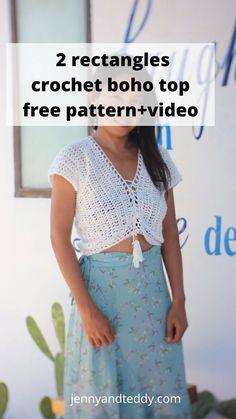Crochet Cover Up, Quick Crochet, Diy Crochet, Double Crochet, Crochet Halter Tops, Crochet Shirt, Crochet Stitch, Boho Crochet Patterns, Crochet Shrug Pattern