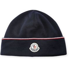Moncler Wool Striped Logo Beanie Hat ($255) ❤ liked on Polyvore featuring men's fashion, men's accessories, men's hats, men's accessories hats, navy, mens wool beanie, mens beanie, mens hats and mens beanie hats #menaccessories