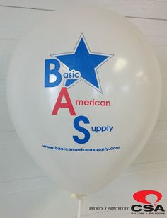 Custom Printed Logo Balloon for Basic American Supply.