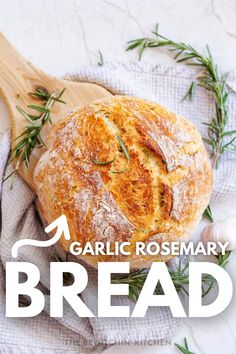 Garlic Rosemary Bread is one of our favorite recipes. If you love a crusty bread, you have to try this recipe. Slice and serve up for entertaining guests, pairing with a weeknight dinner and more. This is a must-make homemade garlic rosemary bread recipe. #bread #garlic #rosemary #easy #yeast #best #homemade #fromscratch Bread Dough Recipe, Bread Maker Recipes, Healthy Bread Recipes, Yeast Bread Recipes, Vegetarian Breakfast Recipes, Cooking Recipes, Rosemary Garlic Bread Recipe, Breakfast Bread Recipes, Rosemary Recipes