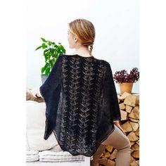 Ibenholt Sjal med hulmønster - strikkekit fra Englegarn Knitted lace shawl