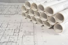Rolls Of Engineering (or Architectural) Drawings (blueprints ...