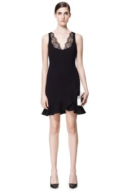 DRESS WITH LACE NECKLINE - Last sizes - Woman | ZARA United States