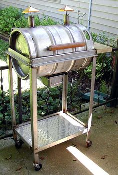 Don't have a barbecue in your backyard but want one? Bbq Grill, Barbecue Pit, Campfire Grill, Homemade Smoker, Beer Keg, Smoke Grill, Decoration Inspiration, Beer Festival, Home And Deco