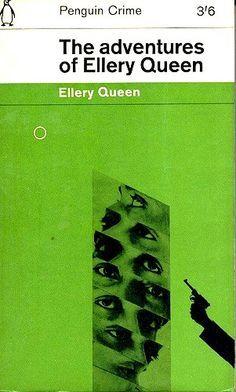 """the adventures of ellery queen"" Best Book Covers, Vintage Book Covers, Book Cover Art, Book Cover Design, Vintage Books, Book Design, Penguin Publishing, Vintage Penguin, Crime Books"