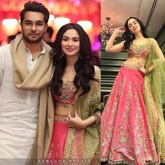 Hania Amir and Asim Azhar at a Wedding Event in Lahore Asian Wedding Dress Pakistani, Indian Bridal Outfits, Pakistani Girl, Pakistani Actress, Pakistani Dresses, Floral Skirt Outfits, Bridal Lehenga Online, Hania Amir, Indian Gowns Dresses