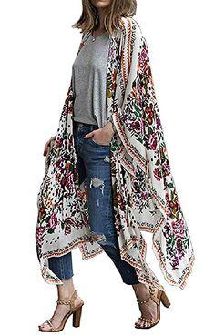 c0e4ab4f523 Hibluco Women s Sheer Chiffon Floral Kimono Cardigan Long Blouse Loose Tops  Outwear (Small