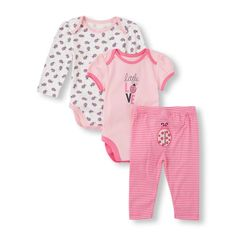 Baby Girls Ladybug Bodysuits And Striped Pants Set | The Children's Place