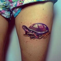 A turtle surfing on money: | The 26 Coolest Animal Tattoos From Russian Artist Sasha Unisex (w/o the money)