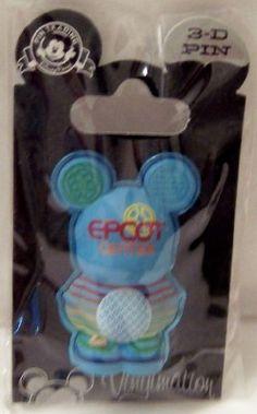 Disney 3-D Vinylmation Pin Park 4 Series EPCOT New On Card Disney Trading Pins, Disney Pins, Walt Disney, Disney Pin Collections, Epcot Center, Disney Addict, Disneyland Resort, Disney World Resorts, Mickey Ears