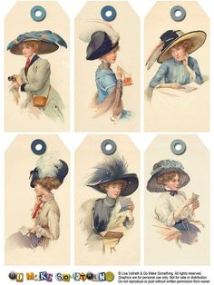 Go Make Something » Tags  Great site for free printables Victorian lady in feather hat gift tags - vintage style