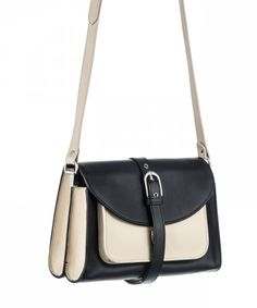 Proenza Schouler Book Bag - BLACK/VANILLA flap front shoulder bag with gold push lock closure and buckle detail. Two interior compartments and one inner zip pocket. Inner pouch pocket with removable mirror. One front compartment with snap closure. Made in Italy.    Black/vanilla and vermillion are expected to ship on December 3rd.