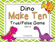 "Kids LOVE dinosaurs, so this ""Make Ten"" center is sure to be a hit! If you enjoy the freebie, please check out the full Dino-RAUR (Dinosaur Themed) Math Centers resource! Your feedback is very much appreciated! Math Classroom, Kindergarten Math, Teaching Math, Teaching Ideas, Math Workshop, Reading Workshop, Math Stations, Math Centers, Math Resources"
