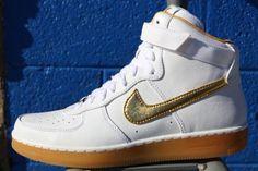 NIKE AIR FORCE 1 DOWNTOWN HIGH PREMIUM WHITE/METALLIC GOLD #sneaker