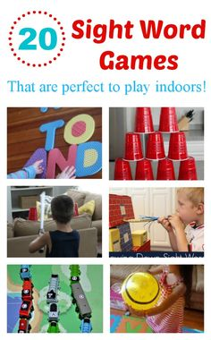 Ready to have some fun learning sight words? We love sight word activities that let us move and learn and I& found 20 different sight word games that you and your kids can play inside. They are the perfect way to practice when the weather is bad outside. Teaching Sight Words, Sight Word Practice, Sight Word Games, Sight Word Activities, Literacy Activities, Activities For Kids, Educational Activities, Kindergarten Reading, Teaching Reading