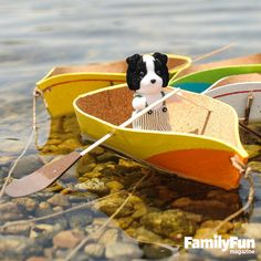 Float Your Boat: Turn a sheet of cork into a shipshape rowboat, then let your child's tiny critters row merrily down the stream.