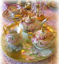This is an exquisite Tea Service in gilded lavender. Vintage Dishes, Vintage China, Vintage Tea, Antique China, Tea And Crumpets, Teapots And Cups, Teacups, China Tea Sets, Tea Tins