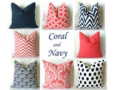 Choose your favorite coral & navy designs! Navy Coral Euro Sham Pillow Covers 24 x 24 One by PillowStyles, $22.00