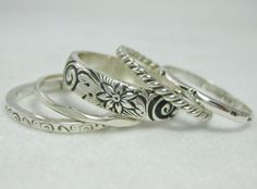 Five Stacking Rings Sterling Silver with Wide by tinyshinyones, $83.00