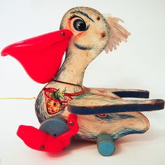 1961 Fisher Price Pull Toy now featured on Fab. Pelicans can be cute too!
