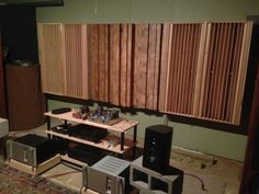 Three Leanfuser stepped diffuser panels flanked by QRD diffusers. Built by Michael (tinnitusintx on Gearslutz). Click to Download the Free Blueprints at http://Arqen.com/sound-diffusers/