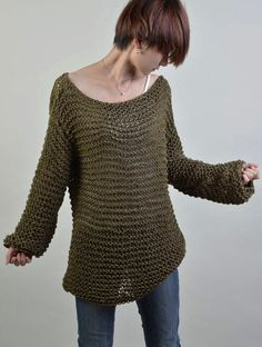 Simple is the best - Hand knitted woman sweater Eco sweater oversized in Olive Green
