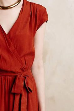 Simple red wrap dress