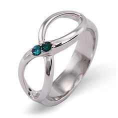 2 Stone Custom Birthstone Sterling Silver Couples Infinity Ring