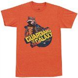 Rocket Raccoon — Guardians Of The Galaxy T-Shirt, Large   Officially licensed product from the Marvel Comics movie Guardians Of The Galaxy Cool Rocket Raccoon print Soft 100% cotton Heather Orange  This adult T-shirt is an officially licensed product from the anticipated Marvel Comics...