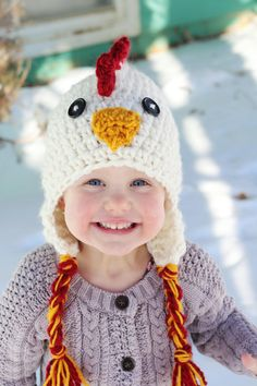 25% off Store wide Christmas Sale going on at www.thymeline.etsy.com Chicken Hat red yellow white with button eyes photo by thymeline, $24.00