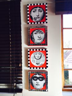 Fornasetti and mosaic faces on canvas