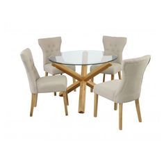 Optro Solid Oak Glass Top Dining Table With 4 Dining Chairs - Glass Dining Tables And 4 Chairs, Furnitureinfashion UK