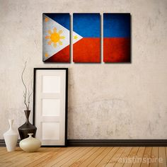 The Original Philippines Flag Triptych (Canvas, Metal or Matte Print)