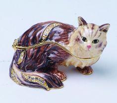 Kitty Cat Jewel Studded Snap Closure Jewelry/Trinket Box Figurine