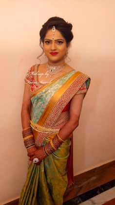 Chaithra looks elegant and gorgeous for her reception. Hair and makeup by Team Swank. South Indian Wedding Saree, Indian Bridal Sarees, Bridal Silk Saree, Saree Wedding, Indian Weddings, Best Bridal Makeup, Bridal Makeup Looks, Indian Bridal Makeup, Bridal Looks