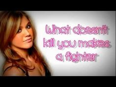 Kelly Clarkson - Stronger (What Doesn't Kill You) Lyrics On Screen. Really positive from our girl, Kelly Clarkson. Kelly Clarkson Stronger Lyrics, Kelly Clarkson Lyrics, Country Singers, Country Music, Sound Of Music, My Music, Fun To Be One, No Time For Me, Divas