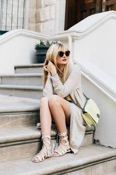 Barefoot Blonde wearing Gap dress and Schutz sandals
