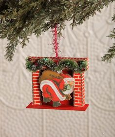 Retro Santa In Fireplace Ornament. Retro and nostalgic Christmas ornaments and decorations at TheHolidayBarn.com