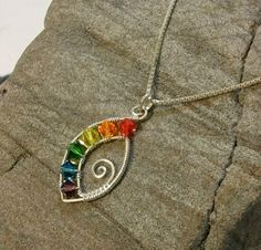 Handmade Wire Wrapped Rainbow Pendant in Sterling Silver and Swarovski Crystal