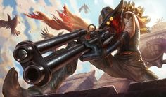 High Noon Jhin Splash Art! be careful out there on these mean streets because you might get popped! Had a 'blast' painting this splash, hope you guys like it! It hits the game today!