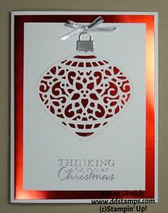 Measurements: Whisper White: 8 1/2 x 5 1/2, scored at 4 1/4 and 3 1/2 x 4 3/4 Red Foil Sheets: 4 x 5 1/4 Silver Foil sheet: scrap Product List Embellished Ornaments Wood-Mount Bundle [140856] $48.25 Embellished Ornaments Clear-Mount...