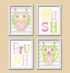 Owl Bathroom Canvas Or Prints Funky Whimsical Owls Girl Owl Theme Sister Brother Shared Bath Wash Brush Rules Child Kid Set Of 4 Decor Bathrooms