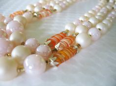 Vintage Triple Strand Beaded Necklace Art Glass by tubbytabby