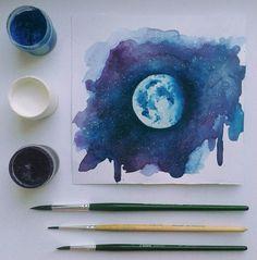 Imagen de art, moon, and blue