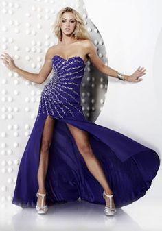 Chic Natural Waist Chiffon Side Split A-line Rhinestones Prom Dress picture 1