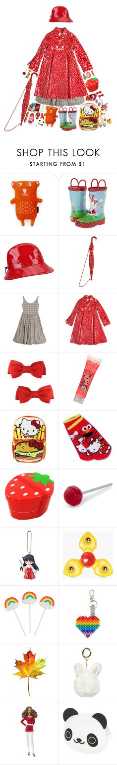 """Rain boots"" by princessbellabun ❤ liked on Polyvore featuring Klippan, Western Chief Kids, Karen Kane, Sarah Jane, Cabbages & Roses, Forever 21, Hello Kitty, Bandai, Fred and Boohoo"
